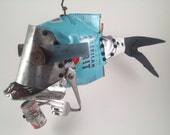 Found Object Recycled American Spirit Tin Can Armed Fish holding a mini Pabst can