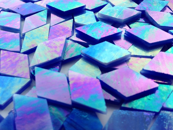 Mosaic Tiles - 100 Small Diamonds - Iridescent Blue Stained Glass - Hand-Cut