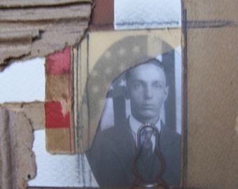 Farmer Ralph- Original mixed media collage