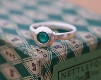 Emerald Ring set in Sterling Silver- Medieval Design Emerald Ring in Silver - Emerald Ring - Made to Order -Free Shipping