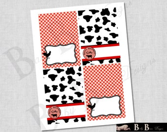 Farm Birthday Tent Cards/ Place Cards- Red & Black- PRINTABLE