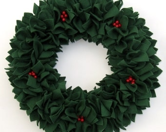 Christmas Wreath - Holiday Wreath - Green Wreath - Fleece Wreath - Door Wreath - Indoor Wreath - Rag Wreath - Winter Wreath - Berry Wreath