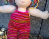 "Waldorf Doll Overalls Organic Wool Hand Dyed Hand Knit For Bamboletta 14- 15 "" or similar size"