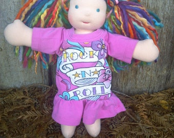 "Cuddle Doll Dress 12"" 13"" 14""  or similar sized waldorf dolls Knit Upcycled Rock N Roll Pink"