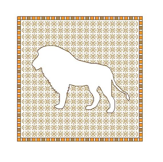 Blackwork Lion, blackwork animal patterns, PDF, lions