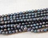 AA Grade Freshwater Pearls - Peacock Potato Pearls 6-7mm - 16 inch strand