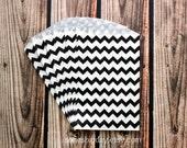 Black Chevron stripe favor bags-Skinny black chevron- paper favor bags - pirate birthday-small black chevron stripe-25