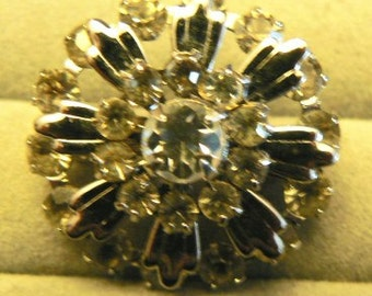 vintage jewels ...  Stunning SILVER and PASTE BROOCH Pin  ...
