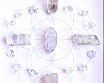 QUARTZ -- CRYSTAL GRID--- framed crystal grid with sacred geometry