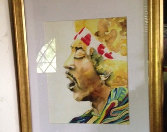 11X14 print of Jimi by Karen Pratt Watercolor Painting by Karen Pratt