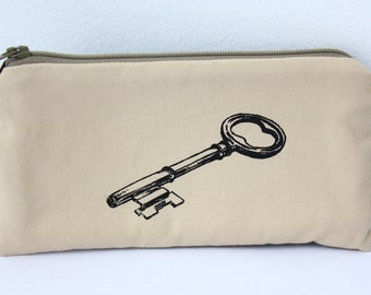 SALE Zipper Pouch-Sunglasses- Antique Key screen print in black on sand twill, brown canvas~Ready to ship