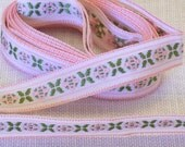 "Vintage Jacquard Ribbon Pink and Green on White Background Pink Jacquard Ribbon (JPG-90614) - 62"" Long 1/2"" Wide - New Old Stock"