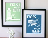 Childrens Bathroom Art Prints, Wash Your Hands, Brush Your Teeth, Pick Two -custom colors