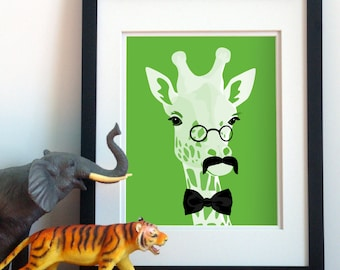 Giraffe dapper mustache art jungle safari animal art print, funny childrens art, kids childrens art animals with mustaches giraffe wall art