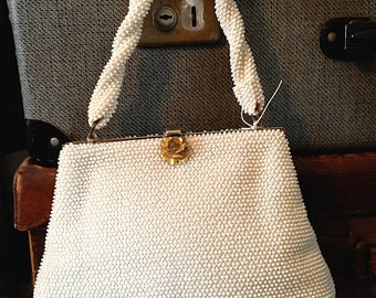 Vintage Ivory Beaded Purse with Gold Flower