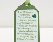 Irish Blessing Tags, May the Road Rise, Set of 10 Handmade Green Tags, St. Patrick's Day, Party Favor, Gift Tag, Irish Saying