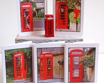 British Red Phone Booth Photo Greeting Cards, Set of 5 Eco-Friendly Notecards, British Icon, English Phone Box, Traditional Telephone Kiosk