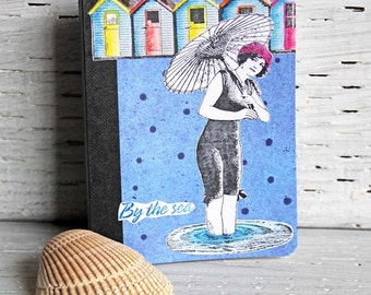 Vintage Sea Beauty Mini Journal, Altered Composition Book, Pocket Notebook, Personal Diary, Travel Planner