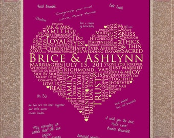 13x19 Signature Guest Book, Interactive Art Print Guestbook, personalized word art, WEDDING GUESTBOOK SIGNATURE poster, love words poster