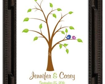 THUMBPRINT TREE, wedding tree guest book, fingerprint guest tree, Thumbprint Stamp Tree guest book, Love Birds, Wedding Poster 11x17 num.140