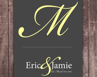 BRIDE GROOM GIFT | Personalized Bridal Shower Gift | Custom Wedding Gift | Bridal Shower Gift | Custom Monogram Art Print Wedding Present 01