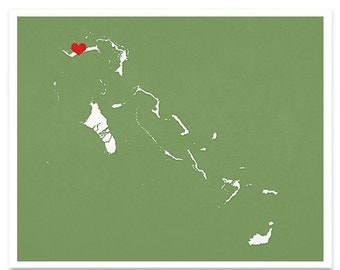 The Bahamas Map Custom Personalized Heart Print Hometown Wall Art Gift Souvenir Caribbean Nassau