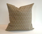 Designer Pillow Cover, Decorative, Throw. 16x16 inch- taupe geometric