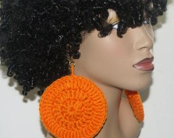 Large Crochet Earrings- Bright Orange