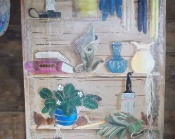 More Things on the Shelf, Wall floor cloth, Acrylic on canvas. by Rusyniak
