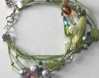 Custom Layered Bracelet, Friendship Bracelet, Boho Style Green & Silver Asymtrical Beaded Bracelet, Pick your colors, SALE