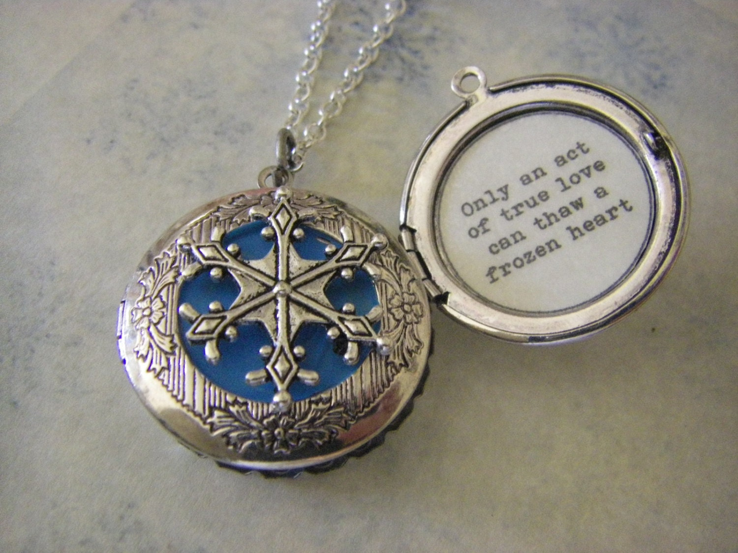 Silver Snowflake Locket Frozen Movie Inspired By