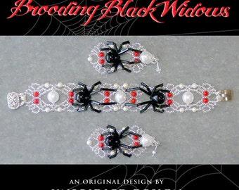 Brooding Black Widows Bracelet & Earrings pdf beading tutorials SAVE 30%