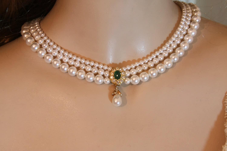 wedding pearls necklace real stone emerald bridal green gem. Black Bedroom Furniture Sets. Home Design Ideas