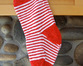 Red striped Christmas stocking - red and white striped stocking - hand knitted stocking -  red stocking