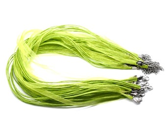 Lime Green Organza Necklaces with Waxed Cord & Clasp -  17 inch - 10pcs -  Ships Immediately from California - CH293