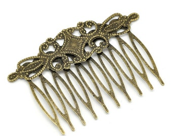 3 Bronze Comb Shape Hair Clips - Antique Bronze -  65x46mm - Ships IMMEDIATELY  from California - HF04