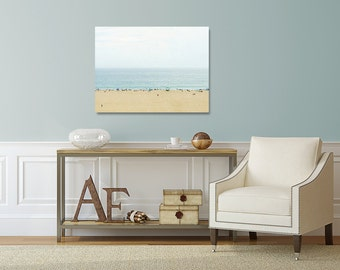 Ocean Canvas Photography, Beach House Decor, California Wall Art, Brown and Blue Canvas, Seaside Photograph