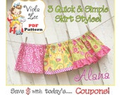 Alana.. Super Easy Skirt Patterns. Toddler Skirt Pattern,  pdf Sewing Pattern.  Infant pdf  pattern. Girl's Sewing Pattern. 3 Skirt Styles