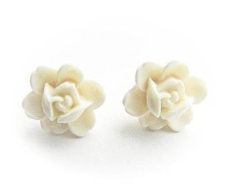 White Rose Post Earrings