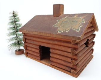 Antique Log Cabin Candies Box,  Antique Wooden Candy Container for Christmas