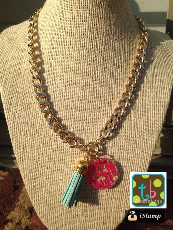 preppy monogram tassel personalized necklace