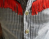 Cowboy Couture: Black & white checkered Sleeveless Mens dress shirt with red fringe and Sri Yantra brass snaps.