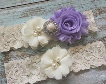 Lavender and Ivory Wedding Garter,Wedding Garter, Wedding Garter Set, Bridal Garter, Lace Garter, Custom Garter, Toss Garter Included