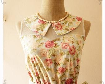 Floral Dress Peter Pan Collar Dress Blue Pink Coral Floral Dress Illusion Dress Bridesmaid Dress  Dress -Size XS-XL