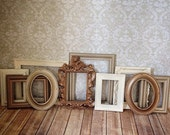 Gallery Wall - Vintage Style PICTURE FRAMEs - neutral - Rustic Romantic Colors - shabby chic wedding - Glass and Backing