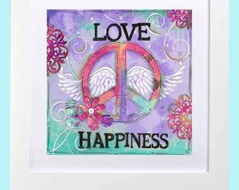 Peace Wall Art ~ Teen Room ~ Girls Wall Art ~ Love Peace Happiness ~ Purple Turquoise ~ Flowers ~ boho Art Print ~ Tween Room Decor ~ Girls