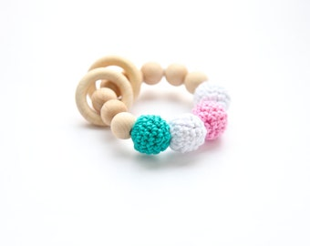Teething ring toy with crochet wooden beads. Rattle for baby. Wooden teether white,pink, green/  teal