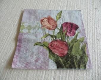 Decoupage napkins, floral napkins, tulip napkins, decoupage, paper, napkins, tulips, Napkins, Decoupage supplies, scrapbook, 4 pcs