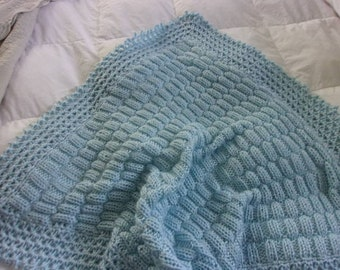 Knit Popcorn Stitch Baby Blanket : Hand Knit Baby Blanket in popcorn/bobble stitch pattern with
