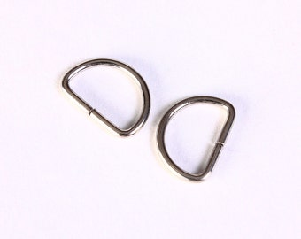 D shape jump rings key chains findings - D open jumpring - silver tone - 13mm x 9mm - cadmium free (1424) - Flat rate shipping